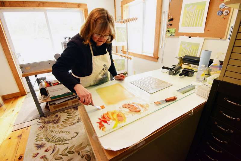 Printmaker Sherrie York at work. (Photo courtesy Gary Swinton)