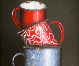 """""""Enamelware Mugs,"""" oil on board, by Peggy Farrell."""