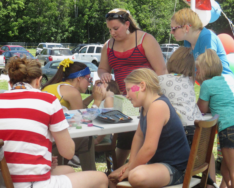 Having fun with face painting at Waldoboro Day.