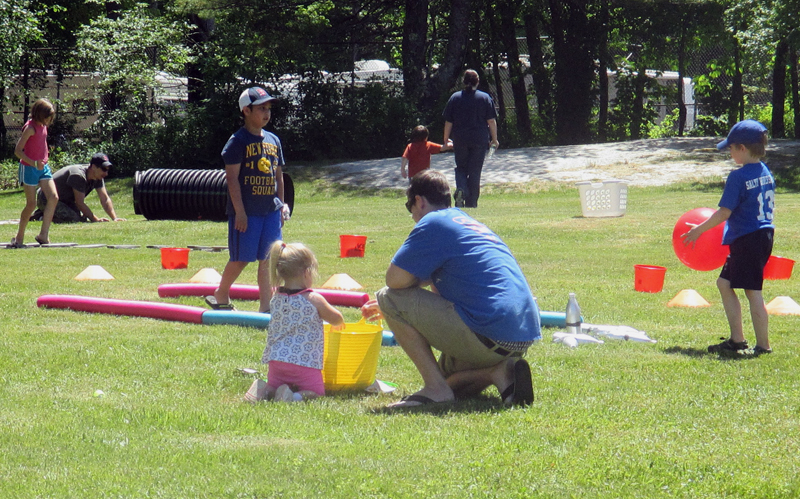 Kids play games at Waldoboro day.