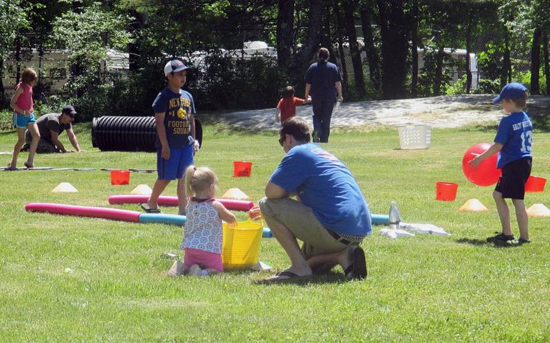 Kids play games at Waldoboro day.