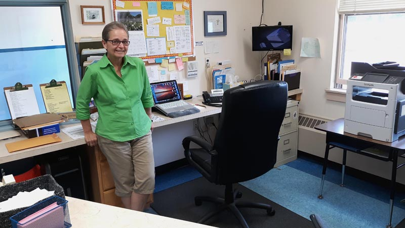 Sue Shiminski has been at the helm of the office of Bristol Consolidated School as the administrative assistant for 22 years. (Candy Congdon photo)