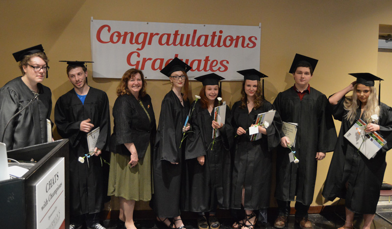 Seven members of the Central Lincoln County Adult Education Class of 2019 stand with their commencement speaker, Maine Labor Commissioner Laura Fortman. From left: Kelvyn Olsen, Haven Simmons, Fortman, Karlyne Olsen, Breanna Blanchard, Sarah Gemeinhardt, Marc Manning, and Logan Delano. (Evan Houk photo)