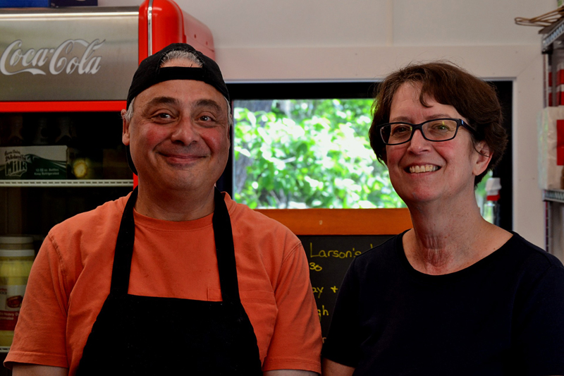 Larson's Lunch Box proprietors Barb and Billy Ganem are celebrating their 14th season at the walk-up eatery. They recently completed an overhaul of the building. (Nettie Hoagland photo)