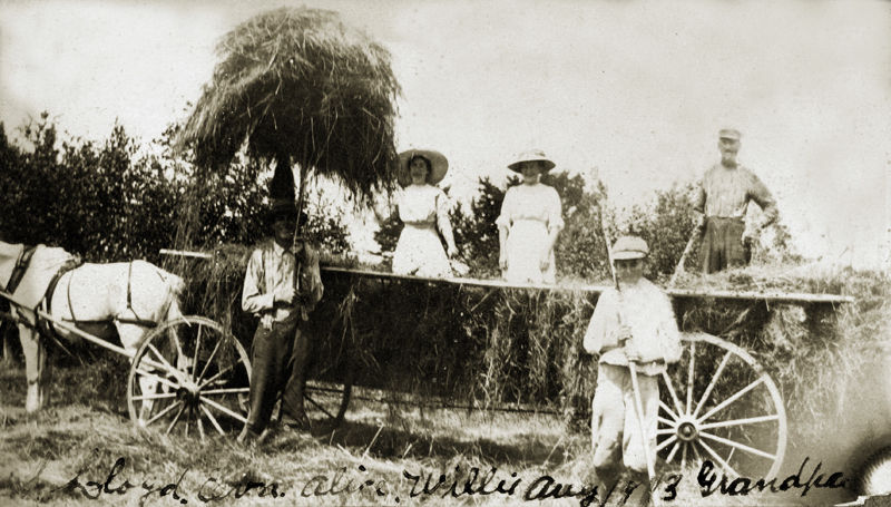 A historic photo, showing Francis Kennedy and family bringing in the hay in Somerville, Maine in 1913.