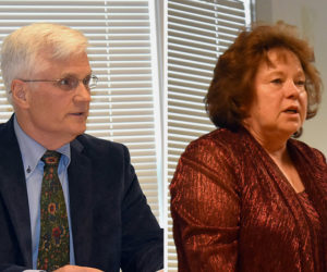 Robert Butler and Sandra O'Farrell participate in a candidates forum at the Waldoboro municipal building Thursday, May 30. Butler and O'Farrell are running for a three-year term on the board of selectmen. (Alexander Violo photos)