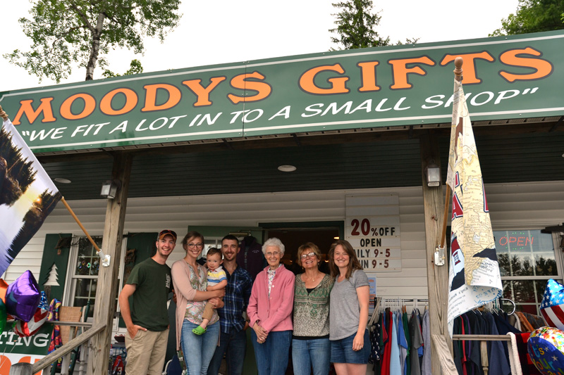 Moody's Gifts was founded as a family business in May 1998 and remains such today. From left: Kyle Olson, Abby Braley, Bowen Braley, Alex Braley, Nancy Genthner, Mary Olson, and Jasmine McNelly. (Maia Zewert photo)