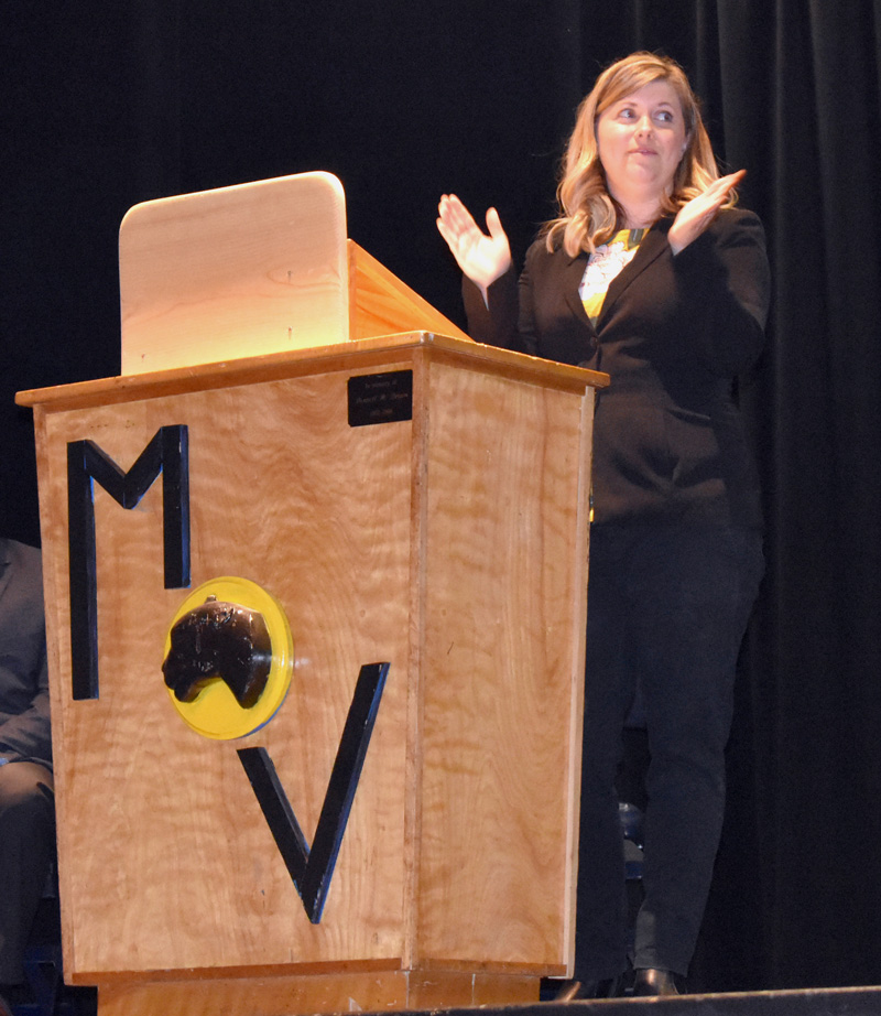 RSU 40 Adult Education Director Kayla Sikora welcomes graduates to a ceremony at Medomak Valley High School on Wednesday, May 29. (Alexander Violo photo)