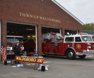 Waldoboro Ladder 1 exits the fire station for its decommissioning ceremony Saturday, June 1. (Alexander Violo photo)