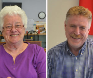 Katharine Martin-Savage (left) and Jefferson Slack finished first and second in a three-way race for two seats on the Wiscasset Board of Selectmen.