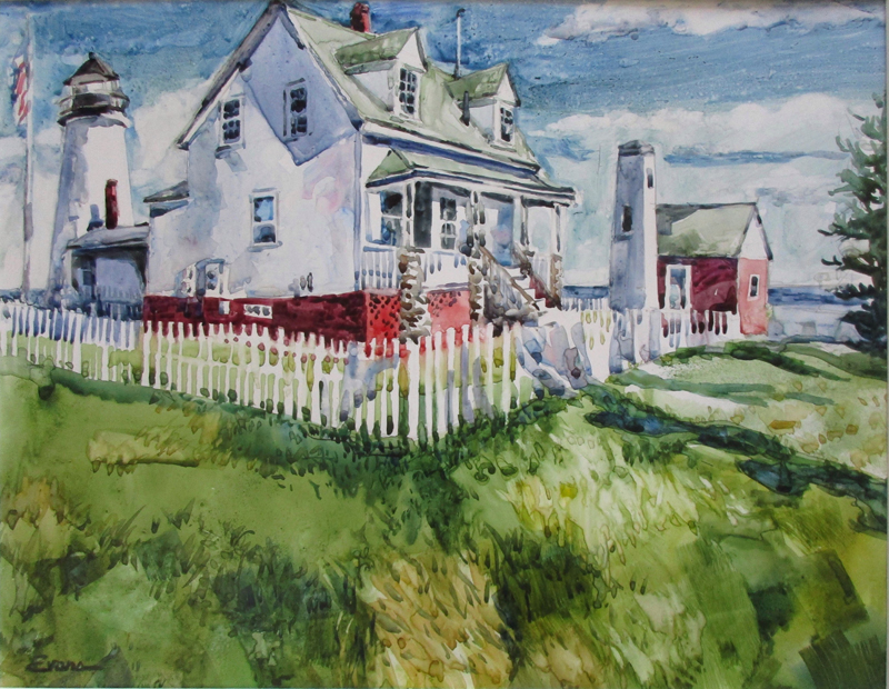 A watercolor painting of the Pemaquid Lighthouse.