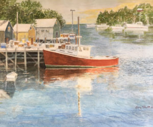 """Back Cove Harbor"" is one of many original paintings available at the Shottery Gallery of Art."