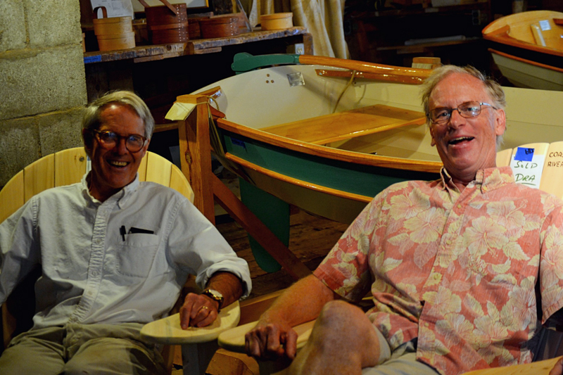 From left: the Rev. Bobby Ives, founder of The Carpenter's Boat Shop, sits next to the nonprofit's interim executive director, Nat Shed. (Nettie Hoagland photo)