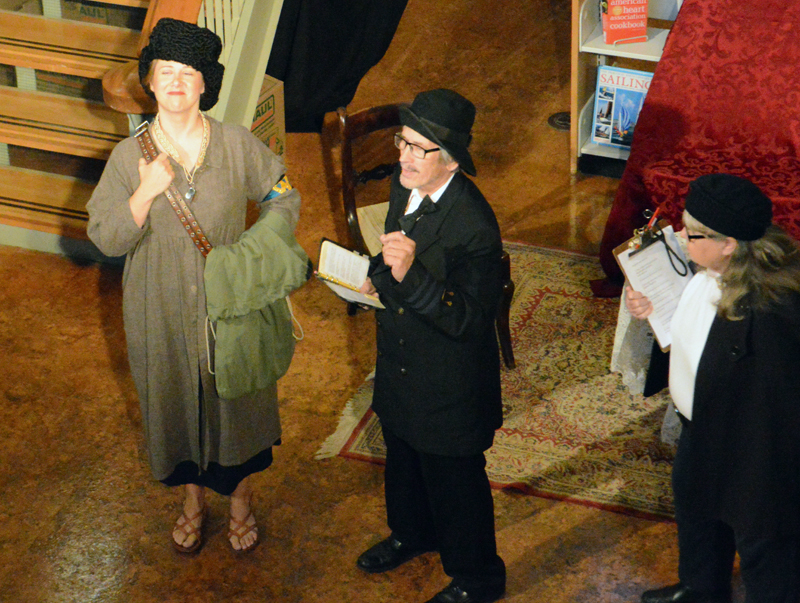 "The surprise comedic duo of Mike and Beth Rowe as dimwitted Dogberry and Vergina (right) indoctrinate Georgina Seacoal (left), played by first-time actress Jelena Godrujan, into the constabulary in the River Company production of ""Much Ado About Nothing"" on July 26. (Evan Houk photo)"
