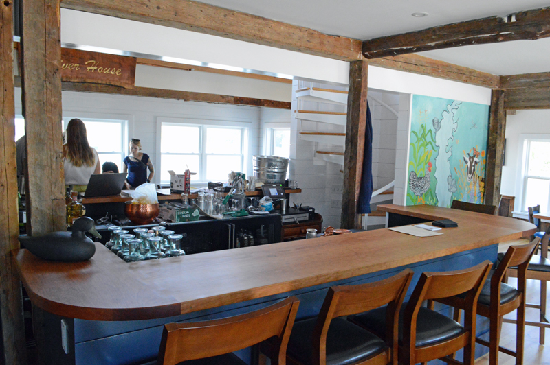 The bar in the new River House farm-to-table restaurant in Damariscotta, next to the Twin Villages bridge. Owner Eleanor Kinney said reservations are encouraged, but the bar is open for walk-ins to eat dinner. (Evan Houk photo)