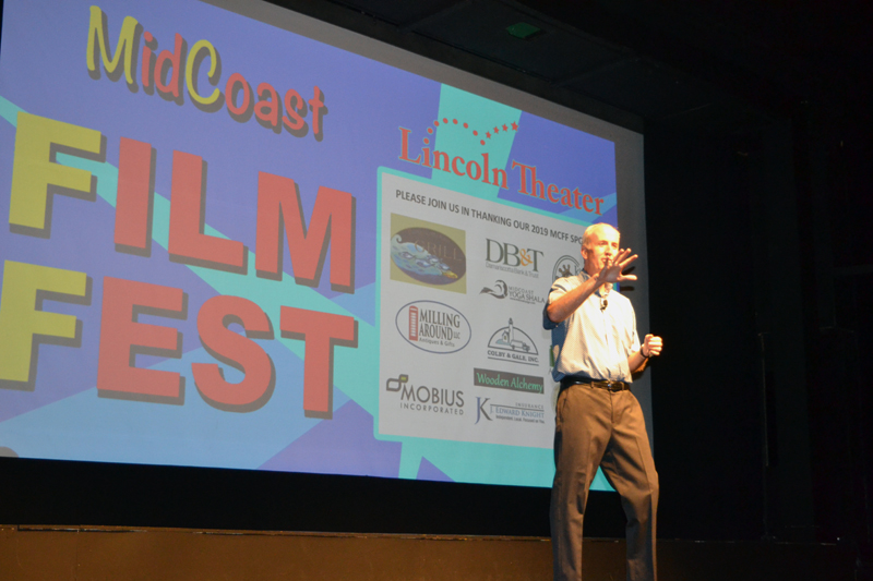 Lincoln Theater Executive Director Andrew Fenniman welcomes a full house at the opening-night reception for the inaugural MidCoast Film Fest on Friday, July 26. (Christine LaPado-Breglia photo)