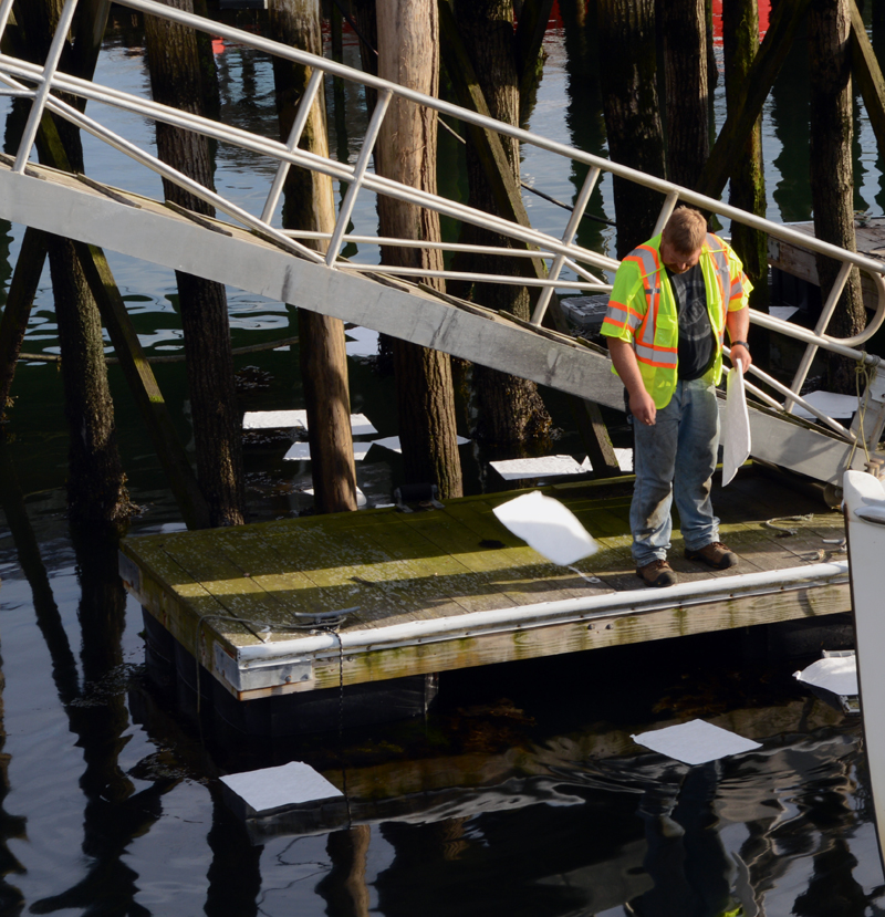 Capt. Brad Pendleton, of the Bristol Fire Department, places absorbent pads in the water to soak up diesel fuel after a spill near the South Bristol drawbridge the evening of Tuesday, July 16. (Evan Houk photo)