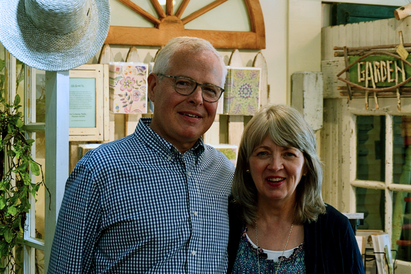 Rob and Marianne Barry, owners of the new-to-Wiscasset shop Old and Everlasting, Thursday, July 18. (Nettie Hoagland photo)