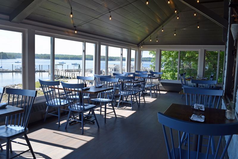Part of the seating area at Water Street Kitchen and Bar, with a view of the Sheepscot River. (Jessica Clifford photo)