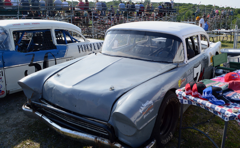 Two vintage race cars from the early days of the Wiscasset Speedway are on display at the track's 50th anniversary celebration Saturday, July 27. (Evan Houk photo)
