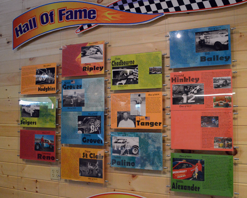 The new Wiscasset Speedway Hall of Fame display next to the souvenir shop. The track inducted the first class as part of its 50th anniversary festivities. (Evan Houk photo)