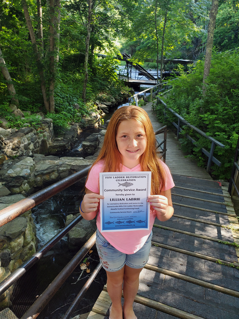 Lillian Labrie at the fish ladder in Damariscotta Mills. (Photo courtesy Caralyn Boyd)