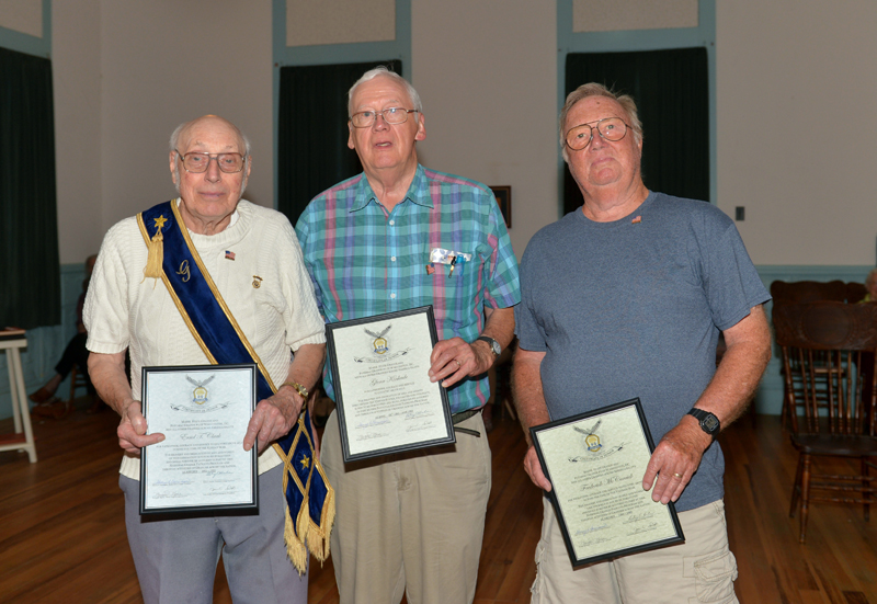 "Three Willow Grange members are presented National Grange sentiments of gratitude for their military service, including (from left) Errol T. Clark, Glenn Kinkade, and Frederick ""Skip"" McCarrick. (Paula Roberts photo)"