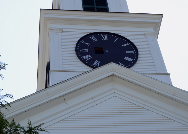 Damariscotta's town clock, in the Damariscotta Baptist Church, on the first day of work to install new automatic controls, Monday, Aug. 12. (Evan Houk photo)