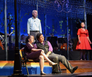 "Andrew Fenniman (standing) sings ""That's the Way it Happens,"" from the 1945 Rodgers and Hammerstein musical ""State Fair,"" in a scene from ""A Grand Night for Singing"" with Emily Sue Barker and Roosevelt ""Robo"" Bishop (seated) as Laurie Brown looks on. (Christine LaPado-Breglia photo)"