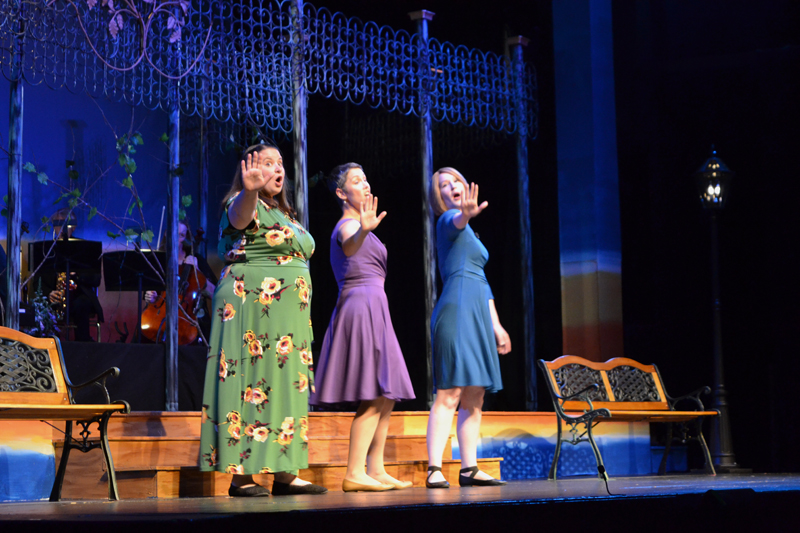 "From left: Emily Mirabile, Victoria Hamilton, and Carissa McCurdy perform the song ""I'm Gonna Wash That Man Right Outta My Hair,"" from the 1949 Broadway musical ""South Pacific,"" during the LCCT production of ""A Grand Night for Singing"" on the evening of Thursday, Aug. 15. (Christine LaPado-Breglia photo)"
