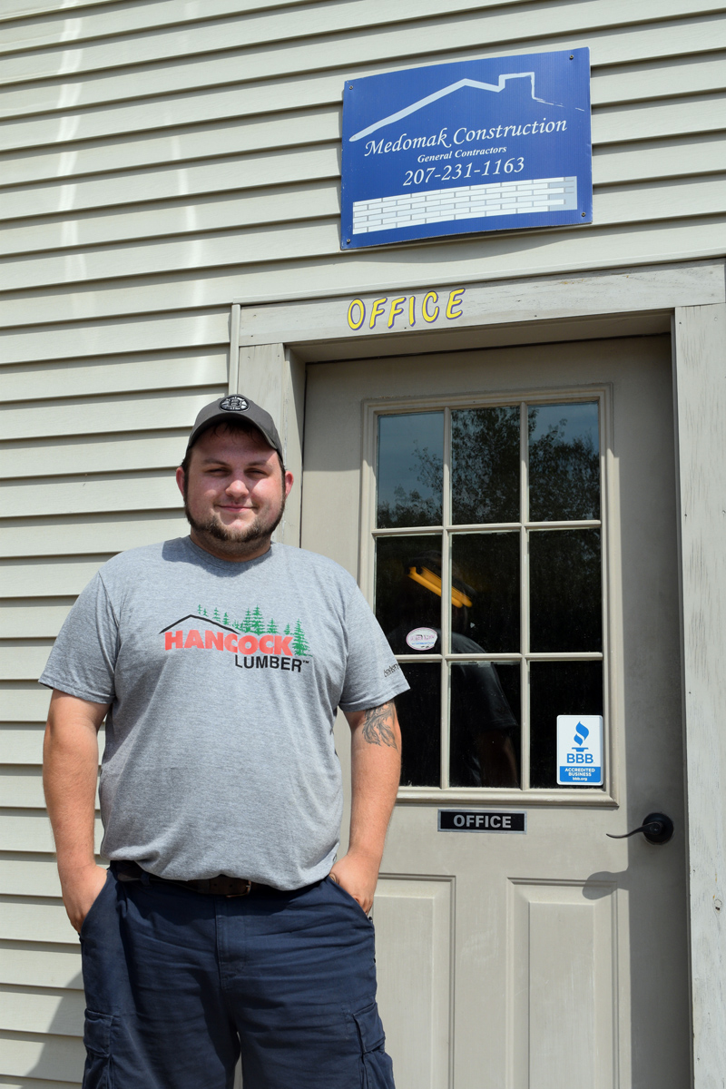 Cameron Creamer, the new owner and operator of Medomak Construction Inc., at the company's office on Biscay Road in Damariscotta. (Jessica Clifford photo)