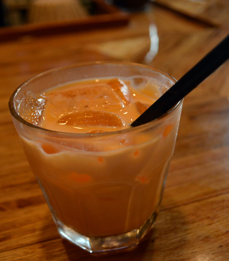 A Thai iced tea at the third of nine stops on Red Cloak Tours' Historic Tidbit Tasting Tour of Damariscotta, Racha Noodle Bar. (Evan Houk photo)