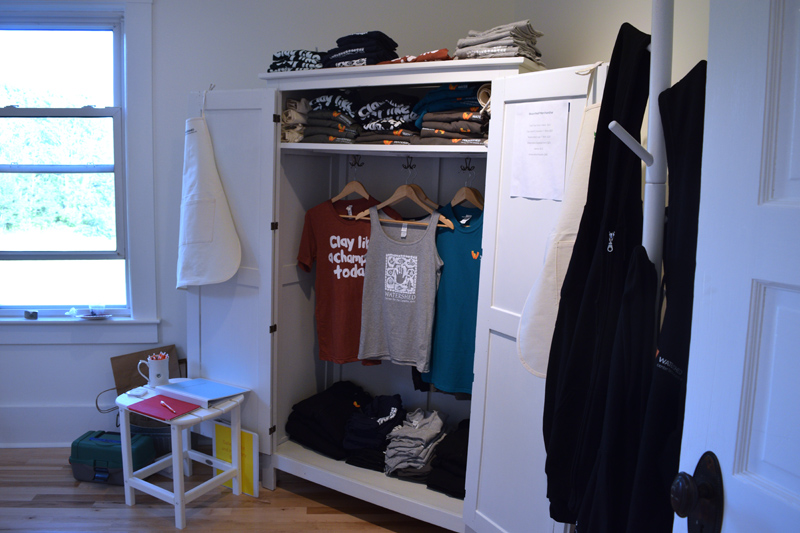 Clothing and and aprons for sale at the new Joan Pearson Watkins House. (Jessica Clifford photo)