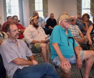 Members of the Jefferson School Committee attend a meeting of the Jefferson Board of Selectmen on Monday, Aug. 12. From left: Wayne Parlin, Walter Greene-Morse, and Al Vorhis. (Alexander Violo photo)