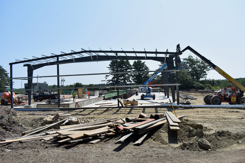 Work progresses on a new sawmill at N.C. Hunt Lumber in Jefferson. The business plans to start up the new sawmill in September and have it running at full capacity by the end of November. (Alexander Violo photo)