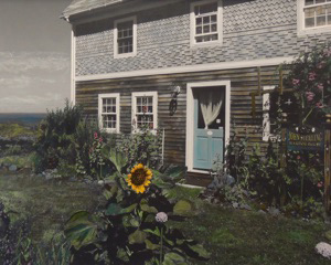Corlis Carroll's painted photograph of the John Sterling House on Monhegan Island. (Photo courtesy Corlis Carroll)
