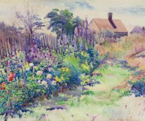 """""""Lora Jenney's Garden, Monhegan,"""" a watercolor painted by Maud Briggs Knowlton in 1925. (Photo courtesy Monhegan Museum of Art & History)"""
