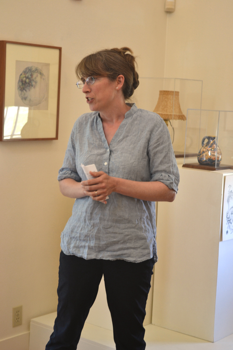 "Emily Grey, the curator of exhibitions at the Monhegan Museum of Art & History, gives a gallery talk about the museum's ""A Life Made in Art: Maud Briggs Knowlton"" exhibit on the afternoon of Aug. 2. (Christine LaPado-Breglia photo)"