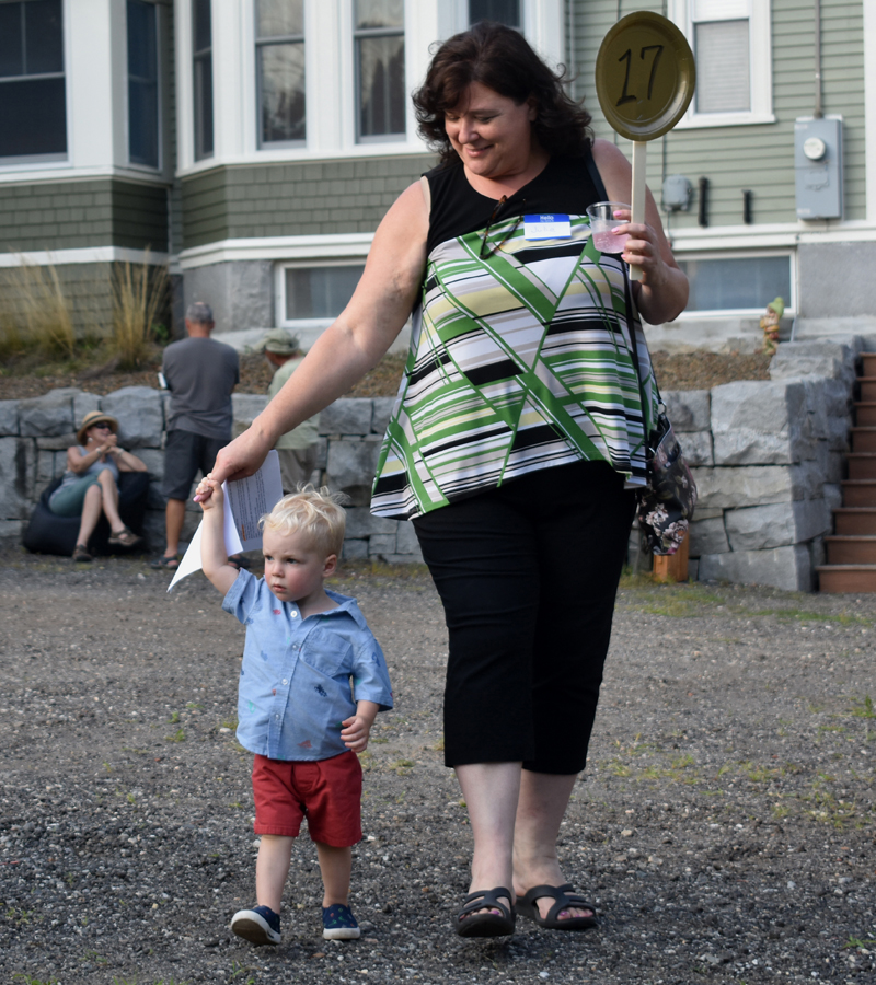Waldoboro Town Manager Julie Keizer with her grandson, Landon Lantagne, at Waldoboro's Paint the Town event on Saturday, Aug. 3. (Alexander Violo photo)