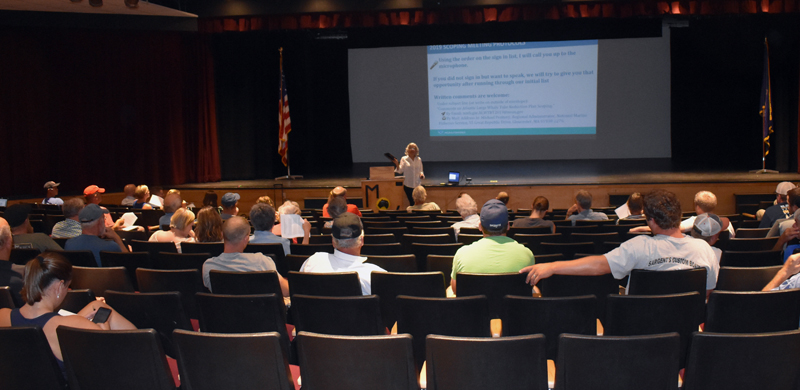 Midcoast lobstermen and politicians attend a meeting about potential new federal rules for the lobster industry at Medomak Valley High School in Waldoboro on Wednesday, Aug. 14. (Alexander Violo photo)