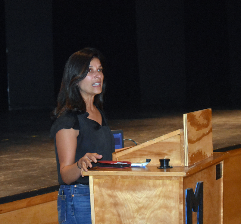 U.S. Senate candidate Sara Gideon, of Freeport, speaks in support of the lobster industry during a meeting at Medomak Valley High School in Waldoboro on Wednesday, Aug. 14. (Alexander Violo photo)