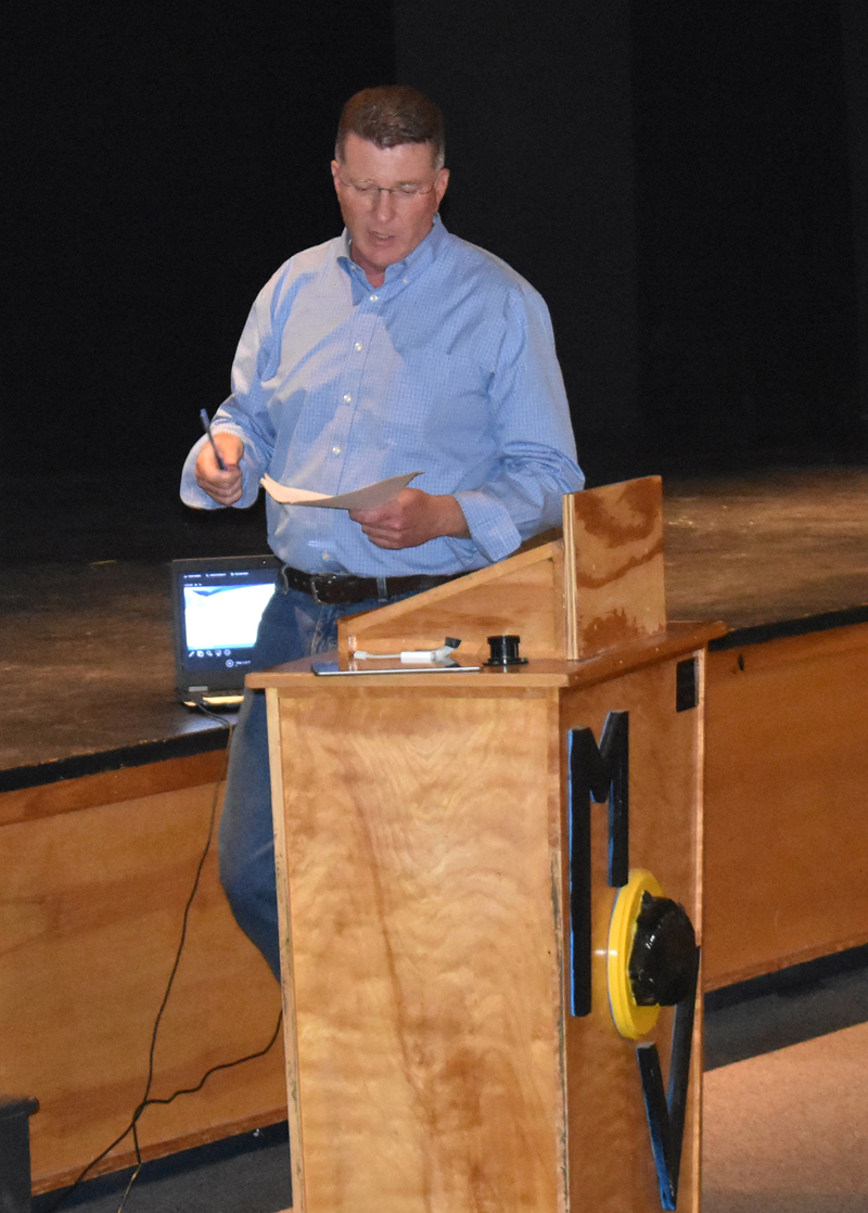 Maine Department of Marine Resources Commissioner Patrick Keliher speaks at Medomak Valley High School in Waldoboro on Wednesday, Aug. 14. The meeting was about potential new restrictions on lobster gear related to right whales. (Alexander Violo photo)