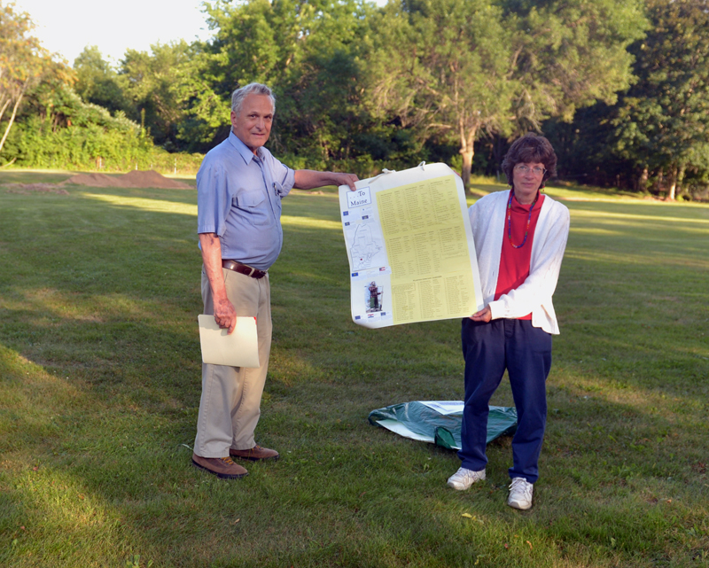 Ed Greiner and Ann Cough stand on the section of Plaisted Cemetery in Gardiner where they say 262 people were buried in unmarked graves, including at least 27 from Jefferson. They have spent countless hours researching the burials at Plaisted Cemetery and other unmarked graves in the Gardiner area. (Paula Roberts photo)