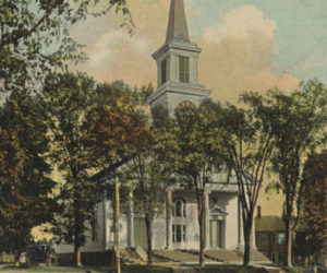 A postcard of Damariscotta Baptist Church dated June 19, 1910. Sent at 2 p.m. (Postcard courtesy Marjorie and Calvin Dodge collection)