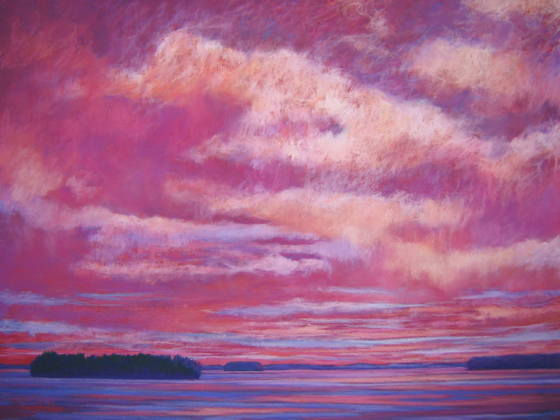 """Sally Loughridge's original pastel painting""""""""Red at Night, Sailor's Delight"""" will be the prize for the patrons drawing at Pemaquid Art Gallery's """"Opening II"""" reception."""