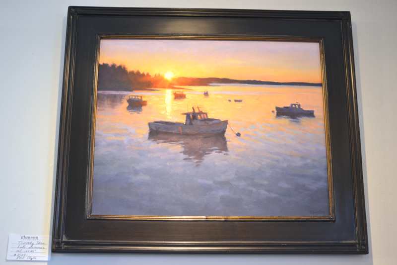 """""""Late Summer,"""" part of the """"Timothy Horn: Deep Blue"""" exhibit currently on the walls of Gleason Fine Art in Boothbay Harbor. (Christine LaPado-Breglia photo)"""
