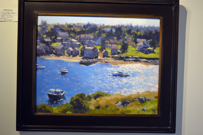 """Timothy Horn's """"Shimmer"""" depicts a view of Monhegan Island from the nearby island of Manana. (Christine LaPado-Breglia photo)"""