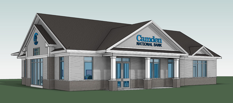 A rendering of the future Camden National Bank branch at 435 Main St. in Damariscotta. The bank will move from its current location at 4 Coastal Market Drive into the new building next spring. (Image courtesy Gretchen Williams/Camden National Bank)