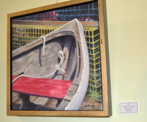 """Dinghy 'n' Traps,"" an oil painting by Will Kefauver, is part of Kefauver's current show at Rising Tide Co-op in Damariscotta. (Christine LaPado-Breglia photo)"
