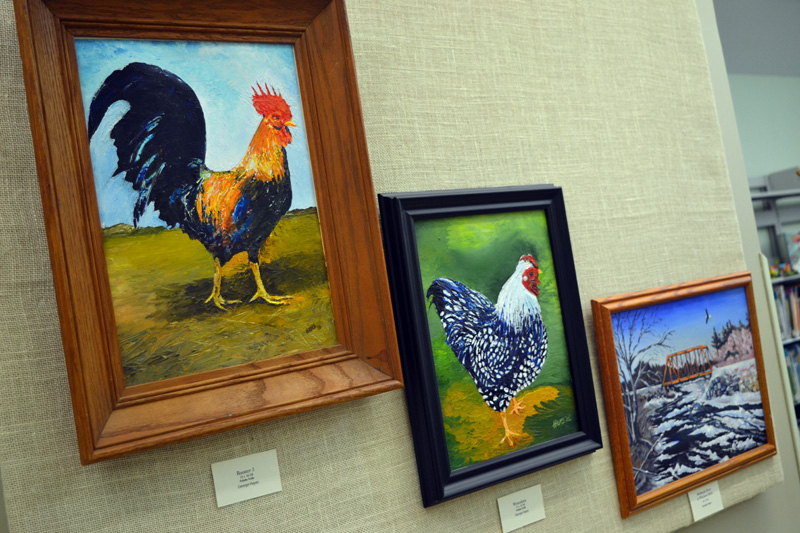 "From left: ""Rooster 3,"" ""Wyandotte,"" and ""Medomak River at Winslows Mills,"" by George Hayes. (Christine LaPado-Breglia photo)"